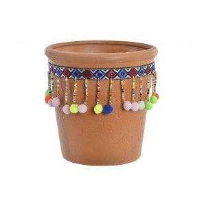 Planter Terracotta with pom-Poms and Colourful, Ideal for Exterior/Interior. Ethnic design 14,3x14,5 cm