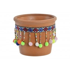 Planter Terracotta with pom-Poms and Colourful, Ideal for Exterior/Interior. Ethnic design 12x10,3 cm