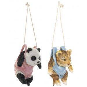 Tigre/Panda Figura Decorativa Colgante Infantil, de Resina para Interior/Exterior. Diseño Animal y Realista 16X12,5X20 cm