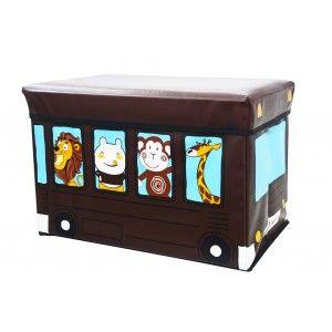 Puff/Baúl Infantil Plegable para almacenamiento de juguetes, de Animales. Diseño Autobús 48x31x31cm.-Hogarymas-