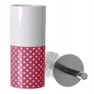 Escobillero Blanco de Cerámica, con escobilla. Diseño Estrellas/Moderno 32x10x10 cm