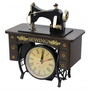 Reloj Analógico Vintage Decorativo con Diseño de Máquina de Coser.  Estilo Original/Metálico 18x10x20 cm
