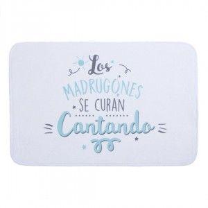 """Alfombra de Baño Blanca, Extrasuave. Diseño Original/Moderno """"Cantando"""" 70x45x0,1 cm"""