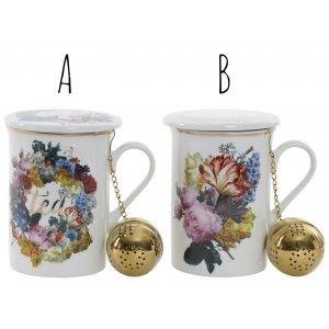 Taza de Infusiones o Té con Tapa y Filtro de Porcelana. 2 Modelos, Diseño floral/Original 10,5X8X11 cm 280 ml