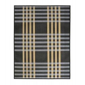Alfombra de Salón o Comedor, Negra, con Rayas Blancas y Amarillas, de Bambú Natural, 180cm X 140cm - Hogar y Más
