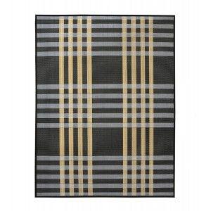 Alfombra de Salón o Comedor, Negro, con Rayas Blancas y Amarillas, de Bambú Natural 180cm X 300cm - Hogar y Más