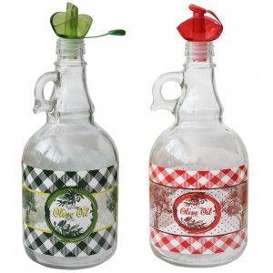 Aceitera Antigoteo de Cristal 1L, Rellenable, para Cocina, Trasparente. Diseño Original, con estilo Vintage - Hogar y Más