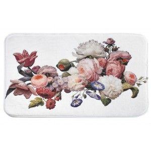 Alfombra Baño Blanca, Rectangular 60x40, Multifuncional : Suave y Absorvente. Diseño Floral/Original