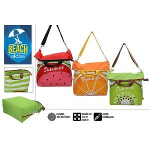 Beach bag Large with Zipper and Handles. Summery, Fresh and with embossed fruit, 42 x 20 x 53 cm - Home and More