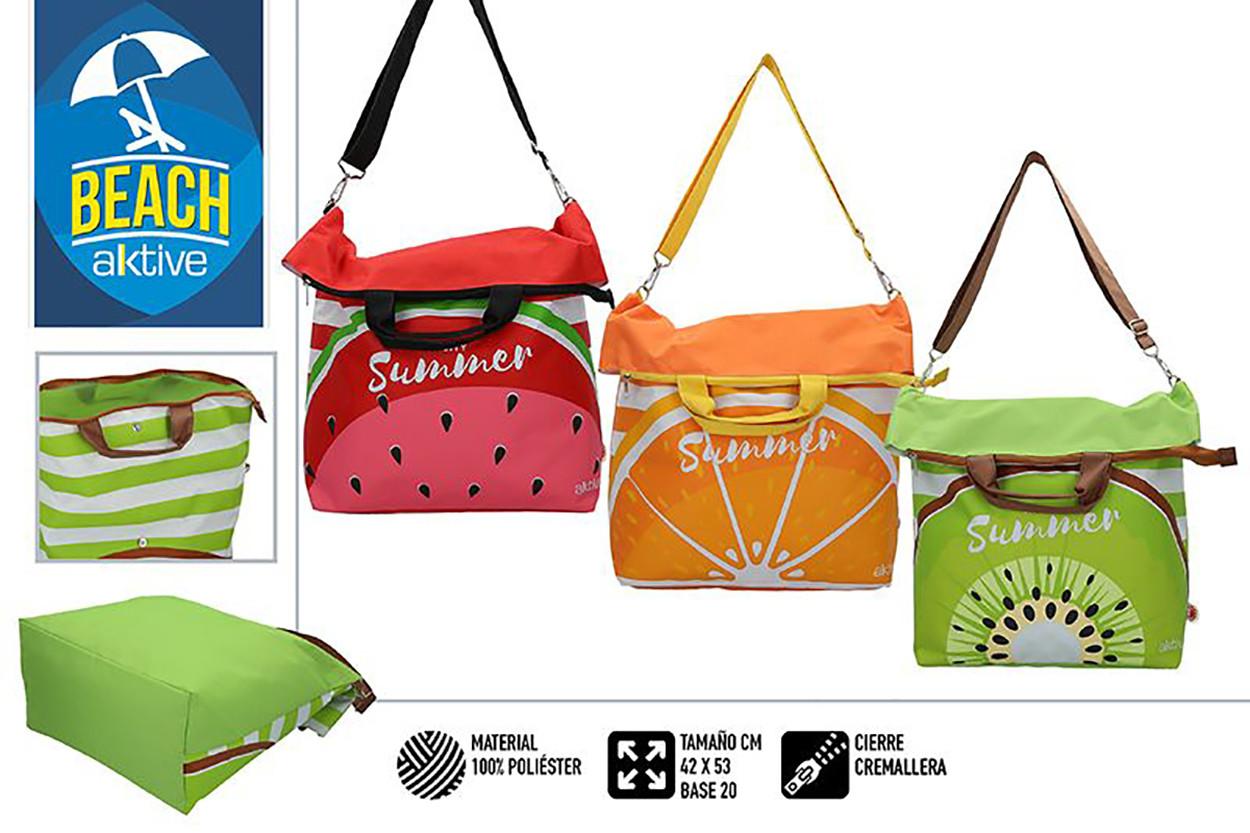 Bolsa de Playa Grande, con Cremallera y Asas. Veraniego, Fresco y con estampado frutal, 42 x 20 x 53 cm - Hogar y Más