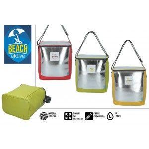 Bolsa Isotérmica de Playa Grande, con Cremallera y Asas. Veraniego, Fresco. Estampado Plateado 32x17x27 cm - Hogar y Más