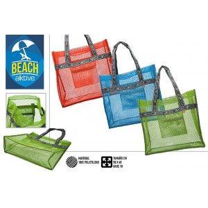 Bolsa de Playa Grande, con Asas. Moderna y original, con Rejilla, 50 x 48 x 18 cm - Hogar y Más