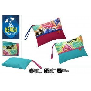 Bag Beach with a Zipper Closure. Patterned Summery, Fresh and Modern. 27 x 20 x 0.5 cm - Home and More
