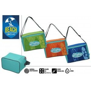Bag Isothermal Beach, with Zipper and Handles. Summer Fresh 5L. Patterned Surfer, 24x15x16cm - Home and More