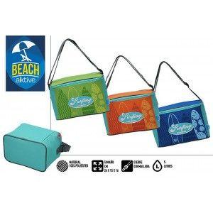 Bolsa Isotérmica de Playa, con Cremallera y Asas. Veraniego, Fresco 5L. Estampado Surfero, 24x15x16cm - Hogar y Más