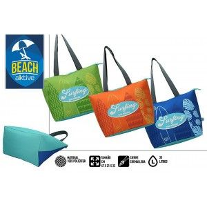 Bag Insulated Large Beach, with Zipper and Handles. Summery, Fresh, 30L. Patterned Surfer 47x21x32cm - Home and More