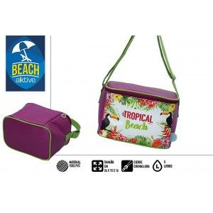 Bag Isothermal Beach, with Zipper and Handles, Bordeaux. Summer Fresh 5L. Tropical print 25x15x16cm - Home and More
