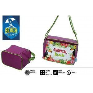 Bolsa Isotérmica de Playa, con Cremallera y Asas, Burdeos. Veraniego, Fresco 5L. Estampado Tropical 25x15x16cm - Hogar y Más