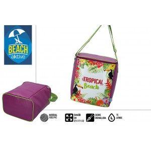 Bolsa Isotérmica de Playa Grande, Cremallera y Asas, Burdeos. Veraniego, Fresco 15L. Estampado Tropical 25x15x16cm - Hogar y Más