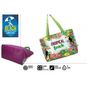 Bag, Isothermal, Refrigerator, Laptop Beach, with Handles. Zipped closure 30 Litre Tropical Beach 47x21x32 cm