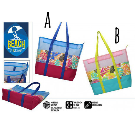 Beach bag Large with Zipper and Handles. Patterned Summery, Fresh and Modern, 58 x 44 x 15 cm - Home and More