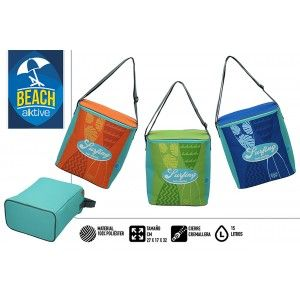 Bag Insulated Large Beach, with Zipper and Handles. Summery, Fresh 15L. Patterned Surfer 27x17x32cm - Home and More
