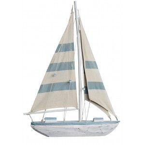 Velero Decoración Madera, Barco Decorativo Azul. Figura Marinera de Tela, Vintage 48x5,5x35 cm