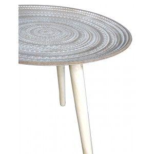 Hogar y más - Mesa auxiliar circular policromado castaño claro. Estilo positivo.