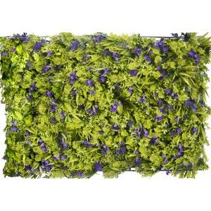Vertical garden Artificial wall, Grass and Purple Flowers, For decoration of Interior and Exterior, 40 x 60 cm - Home and More