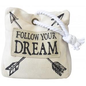 "Sujetapuertas Decorativo de algodon, Beige, Diseño de saco con Estilo Original/Moderno, "" Follow your dream"" 16x8x16cm"