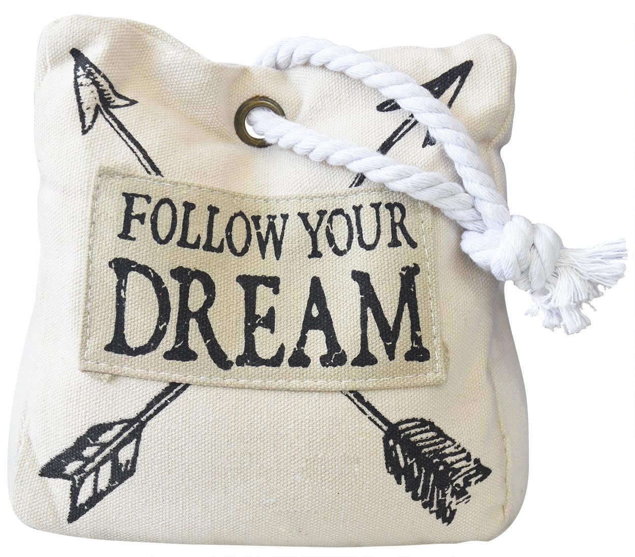 "Sujetapuertas Decorative cotton, Beige, Design of bag with Original Style/Modern ""Follow your dream"" 16x8x16cm"