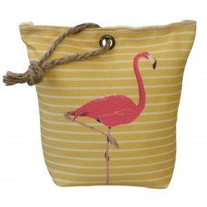 Sujetapuertas Decorativo Textil, Flamenco 1,3 kg. Saco Amarillo con Sisal Natural para Puertas  19x19x8 cm