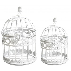 """Cage decoration metal """"Flowers"""" in Ivory color, Elegant and Modern, SET 2 - Home and More"""