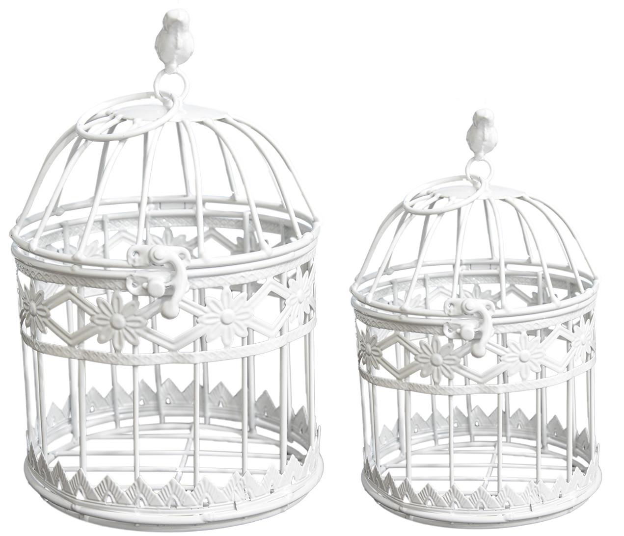 """Jaula de decoración de metal """"Flores"""" en color Marfil, Elegante y Moderno, SET 2- Hogar y Más"""