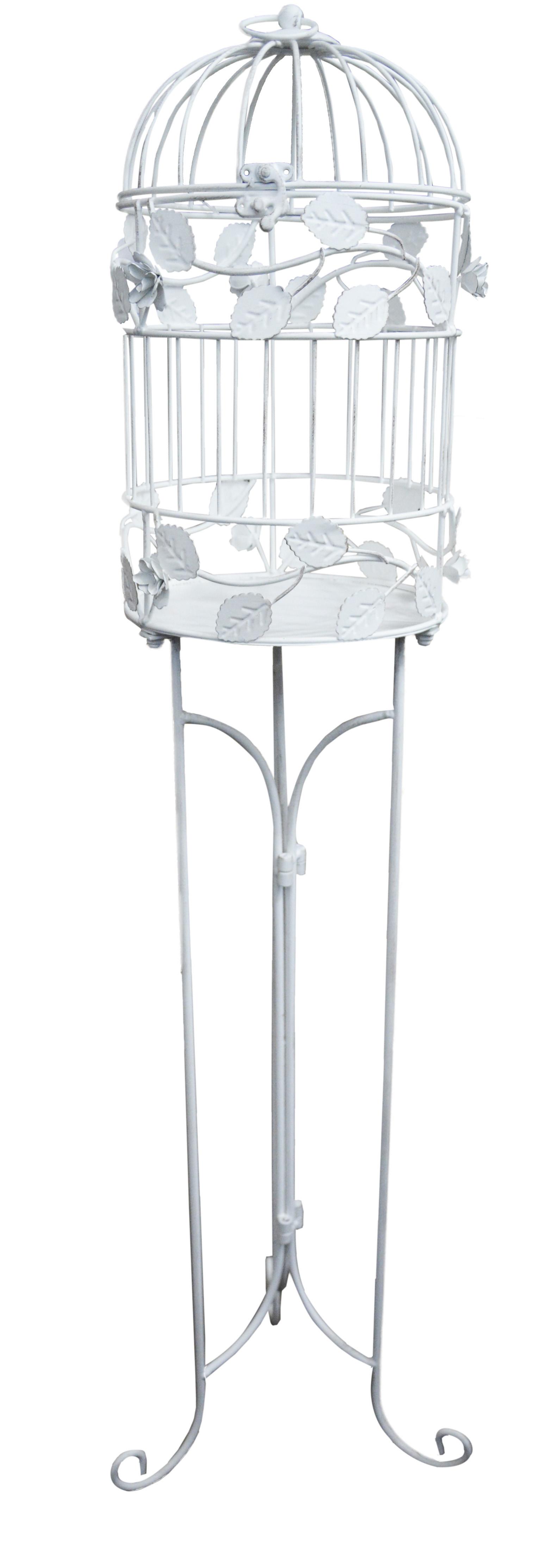 Jaula de pie de material metal de color blanco