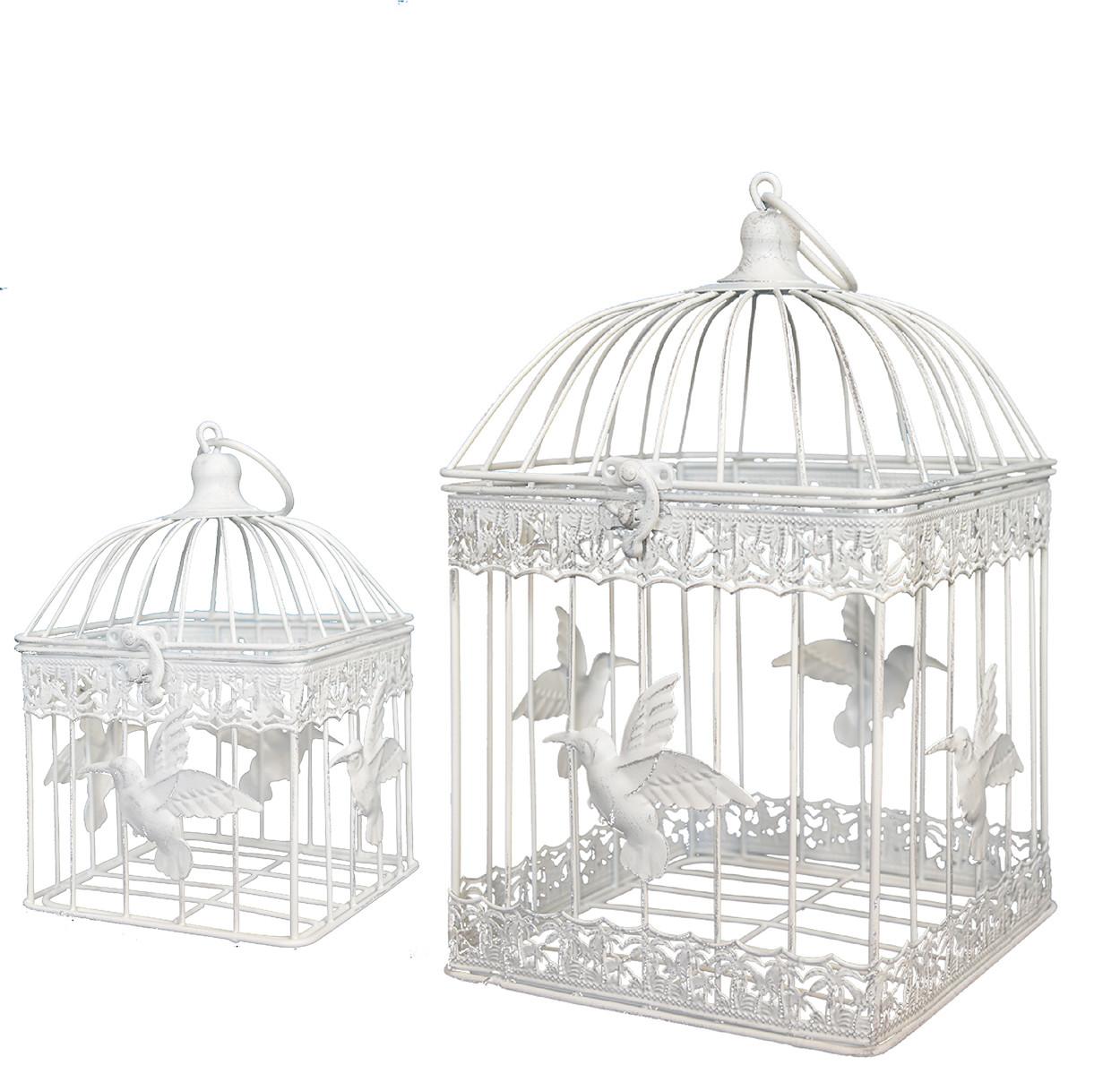 """Jaula de decoración de metal """"Colibri"""" en color Marfil Set de 2, Hogar y Mas"""