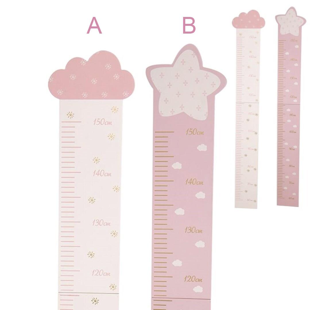 Height gauge Children's Pink Wooden Growth Chart Children's Bedroom. Up to 1.50 metres for Wall