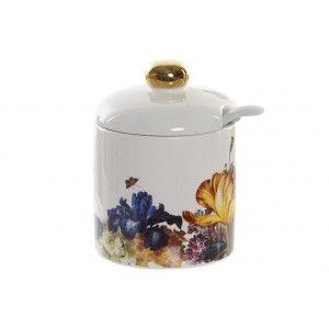 Azucarero Cocina Floral con Tapa y Cucharilla, 175 ml, Almacenamiento de Especias. Tarro/Bote Conservas 7x7x8 cm