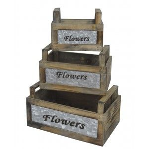 Macetero Decorativo Flowers set 3, Caja de Madera Vintage Decoración. Almacenamiento Jardín Flores.-Hogarymas-