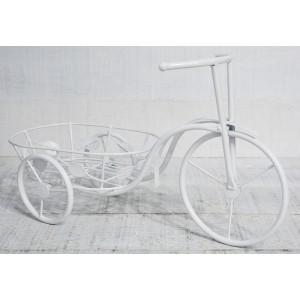 Bicicleta Macetero Rural Blanco, realizado en Metal, decoración Vintage y Elegante, Jardin - Hogar y Mas