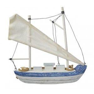 Velero Decoración Madera, Barco Decorativo Azul. Figura Marinera de Tela y cuerda, Vintage 26x6x28 cm