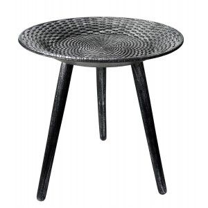 Side table Wood Black-and-Silver Table Decorative Original. Bedside table ø49 cm X 50 cm