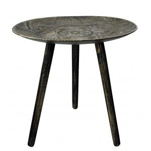 Side table Wood Black and Gold, Mandala, Table Decorative Original. Bedside table ø54 cm X 48 cm
