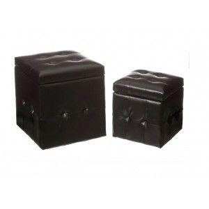 Puff Chest in Black imitation leather, Ottoman Storage Set 2. Bunker storage 39x39x43 cm