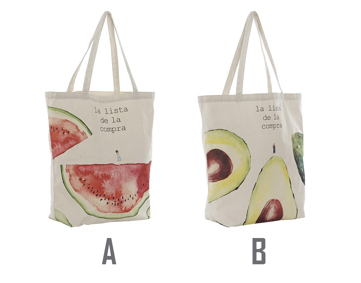 Bolsa de Mano de Compra, Bolsa de Algodón con Asas, Diseño Frutal 43x15x40 cm - Hogar y Más