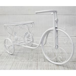 Macetero Metal Blanco Bicicleta Florero, Macetero Jardin Exterior. Florero Original 46x30 cm