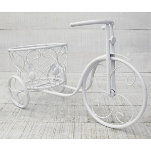 Planter White Metal Bicycle Flower Vase, Planter Garden Outside. Vase Original 46x30 cm