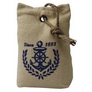 """Sujetapuertas Decorativo Textil, Diseño Marinero """"Since 1883"""" 1,3 kg. Forma de Saco con Sisal Natural para Puertas 17x7x12 cm"""