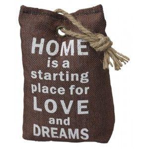 Sujetapuertas Decorative Textile, Phrase, Motivating 1,3 kg, Sac-Shaped Chocolate color, Sisal, Natural Doors 17x7x12 cm