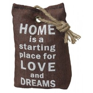 Sujetapuertas Decorativo Textil, Frase Motivadora 1,3 kg. Forma de Saco color Chocolate, Sisal Natural para Puertas 17x7x12 cm